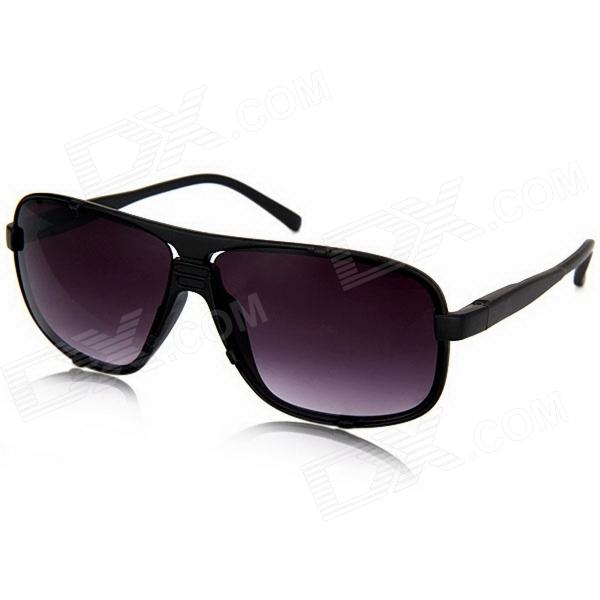 Stylish Frosted Plastic Frame Resin Lens UV400 Protection Men's Sunglasses - Black