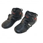 Quality Motorcycling Protective PU Leather Shoes - Black (Pair / Size 43)