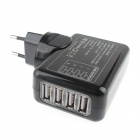 Universal 4-Port USB 5V 2.1A AC Power Charger Adapter for IPHONE / Samsung / HTC - Black (EU Plug)