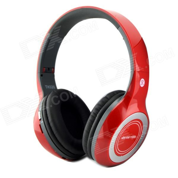 ShengYun TH320 Wireless Bluetooth V3.0 Headband Super Bass Earphones w/ FM / Mic - Red + Black 1more super bass headphones black and red
