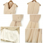 Stylish V-Neck Chiffon One-piece Dress w/ Waist Belt - Apricot (L)