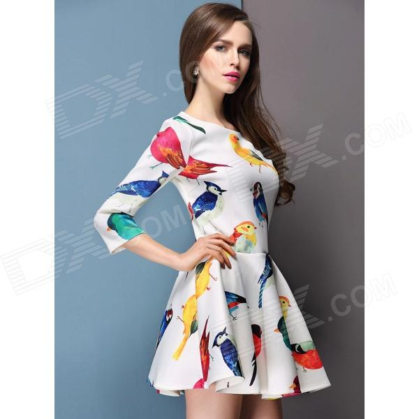 Stylish One-piece Dress - White + Multicolor (L)