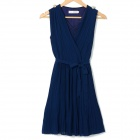 Stylish V-Neck Chiffon One-piece Dress w/ Waistband - Dark Blue (L)