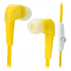 LANSHIDUN JV19 Stylish 3.5mm Jack Wired Stereo Headset w/ Mic for Smartphone - Yellow + White