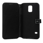 Protective Flip-open PU Leather Case for Samsung Galaxy S5 - Greyish White + Black
