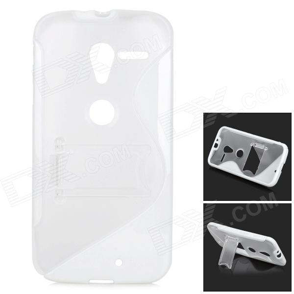 S Pattern Protective TPU Case w/ Holder for MOTO X - White + Transparent relativity and causality