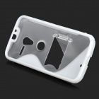 S Pattern Protective TPU Case w/ Holder for MOTO X - White + Transparent