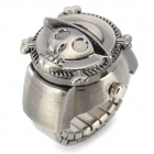 Stylish Skull Flip-open Waterproof Analog Quartz Finger Ring Watch - Silver White (1 x 377)