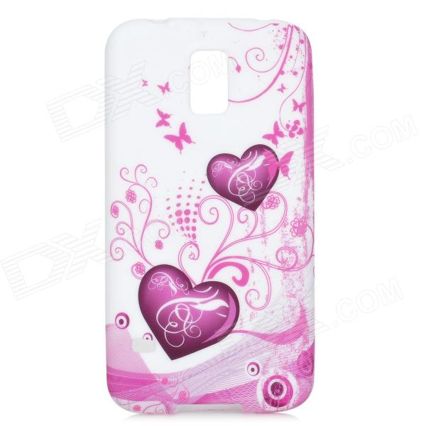 Peach Flower Heart Pattern Protective Silicone Case for Samsung Galaxy S5 - Fuchsia + White