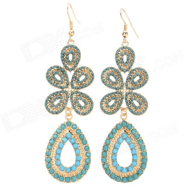 ER-3765 Zinc Alloy Hollow Flower Pattern Drop-shaped Dangle Earrings for Women - Grass Green (2 PCS) автокресло concord группа 1 2 3 transformer pro graphite grey 2016