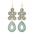 ER-3765 Zinc Alloy Hollow Flower Pattern Drop-shaped Dangle Earrings for Women - Grass Green (2 PCS)