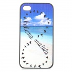 Stylish Patterned Plastic Back Case for IPHONE 4 / 4S - White + Blue