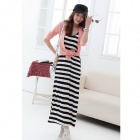 Q007 Ribbon Pattern Milk Fiber Maxi Dress - White + Black