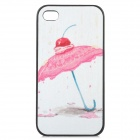 Stylish Sweet Umbrella Pattern Plastic Back Case for IPHONE 4 / 4S - White + Light Pink