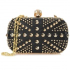 Stylish PU Crown Skull Evening Bag Handbag - Black