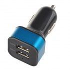 5V 2.1A/1A Dual USB Car Charger for IPHONE / IPOD / IPAD - Black + bLUE (DC 12~24V)