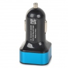 5V 2.1A / 1A Dual USB Car Charger para IPHONE / IPOD / IPAD - Preto + Azul (DC 12 ~ 24V)