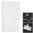 Protective Flip-open Split Cow Leather Case w/ Stand / Card Slot for MOTO G - White
