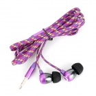 HXT-2028 3.5mm Nylon In-Ear Earphone - Purple + Black