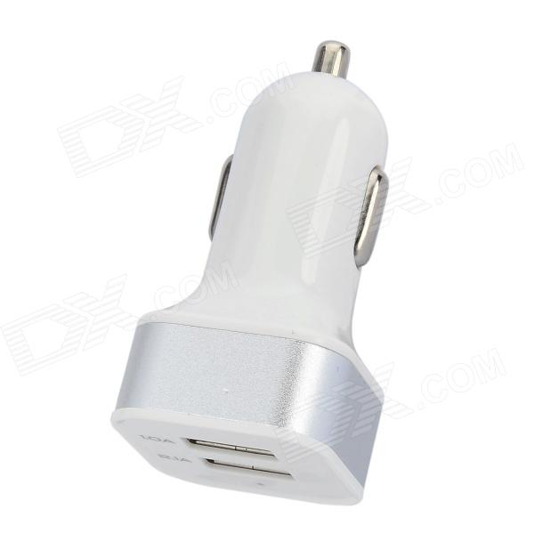 Dual-USB Car Cigarette Lighter Power Adapter - White + Silver