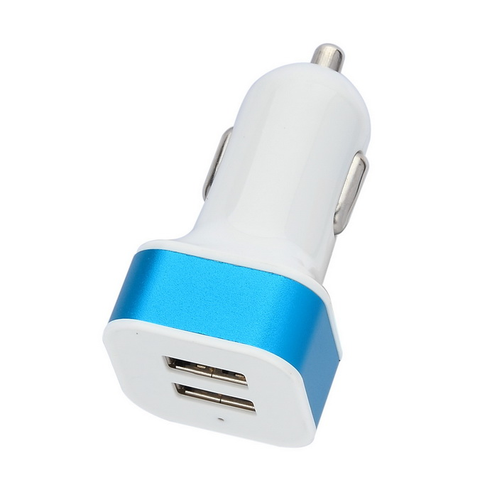 Dual-USB Car Cigarette Lighter Power Adapter for IPHONE / IPAD - White + Blue