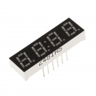 "2481AS 1.3"" 4-bit Common Anode Red LED Digital Seven-segment Display - Black + White (5 PCS)"