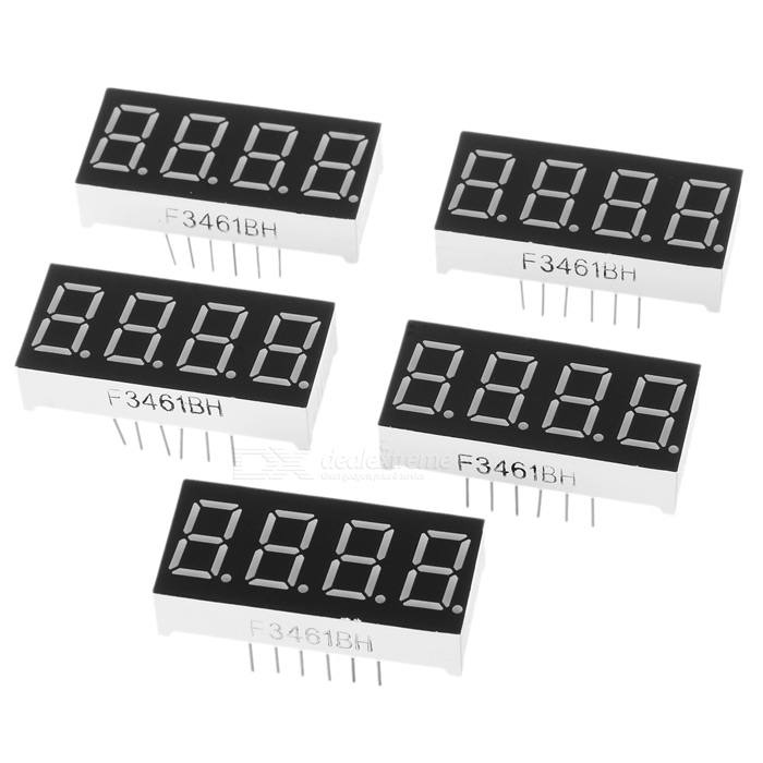 3461BS 1.4 4-Bit Common Anode Red LED Digital Seven-segment Display - Black + White (5 PCS) bonatech 0 36 inches seven segment display module black white