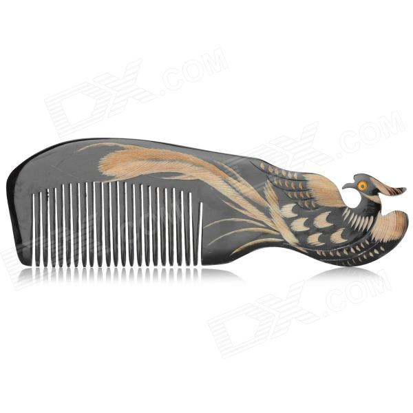 NJ710220 Peacock Pattern Natural Ox Horn Comb - Black + Multicolor hair regrowth laser comb micro current for hair loss alopecia scalp massage remove dandruff thinning hair health repair growth