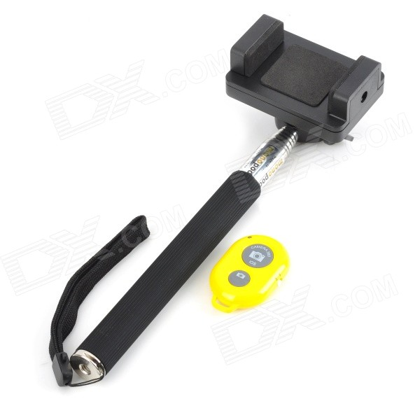 Retractable Selfie Monopod w/ Phone Holder + Remote Control - Black