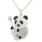 Rhinestone Studded Cute Panda Style Pendant Necklace - Silver + Black + Multi-Colored