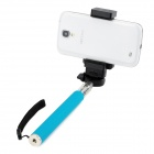 Retractable Selfie Monopod w/ Cellphone Holder + Remote Control for IPHONE + More - Black + Blue