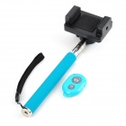 Retractable Selfie Monopod w/ Cellphone Holder + Remote Control for IPHONE + More - Light Blue