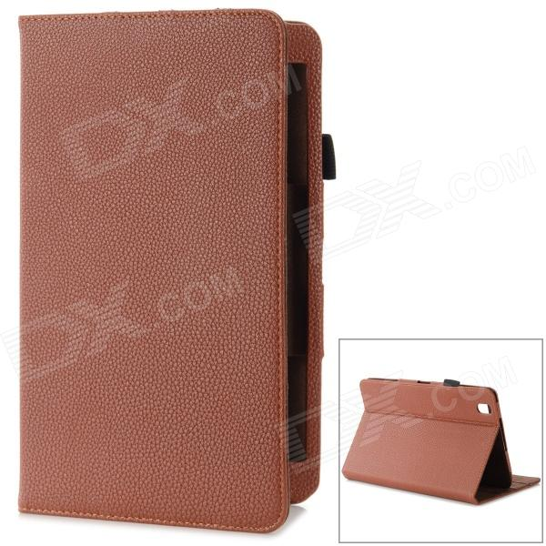 Lychee Pattern Flip-open Protective PU Leather Case w/ Stand for Samsung T320 - Brown lychee pattern flip open protective pu leather case for ipad mini black