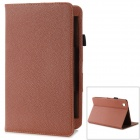 Lychee Pattern Flip-open Protective PU Leather Case w/ Stand for Samsung T320 - Brown
