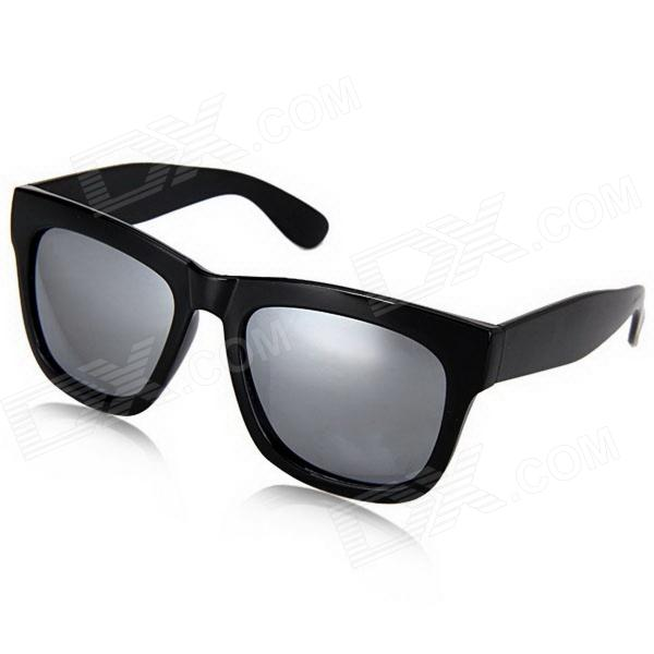 658323bd021 Plastic Frame High Quality Silver Coating Resin Lens UV400 Protection  Sunglasses - Black - Free Shipping - DealExtreme