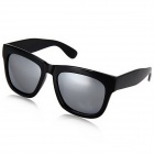 Plastic Frame High Quality Silver Coating Resin Lens UV400 Protection Sunglasses - Black