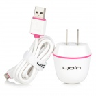 Ujoin US Plug 100~240V Power Adapter w/ Micro USB Charging Cable - White + Deep Pink