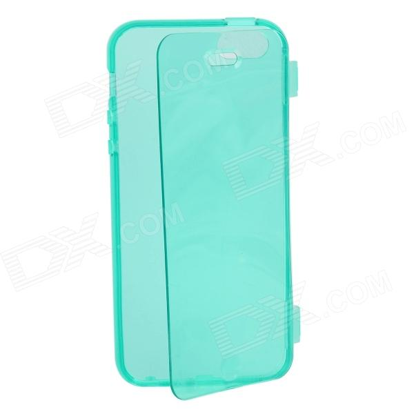 Simple Protective TPU Flip-Open Case for IPHONE 5 / 5S - Translucent Green for iphone 7 plus 5 5 inch touchable flip tpu flexible case cyan