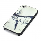 Portrait Sketch Pattern Plastic Back Case for IPHONE 4 - White + Dark Grey