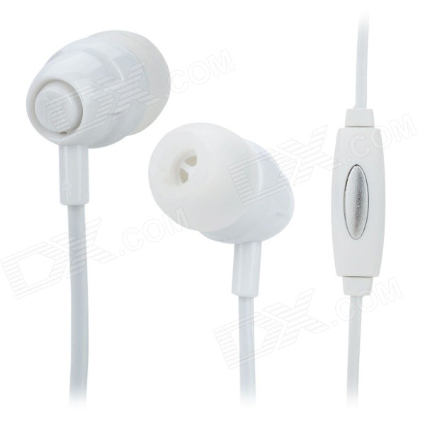Langston Q3 Stereo Universal 3.5mm In-Ear Earphone w/ Microphone for Smartphones - White (116cm)