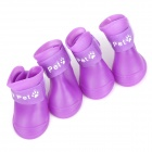 Cute Anti-skid Pet Dog Rain Shoes - Dark Purple (Size M / 4 PCS)