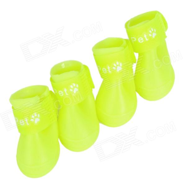 Cute Anti-slip Pet Dog Rainshoes - Fluorescent Yellow (Size S / 4 PCS)