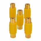 LSON RCA Female to Female Adapter - Yellow + Golden (5 PCS)