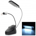 YHX YHX-183 Handy USB Powered 3W 60LM 5000K White 28-LED Clamp Lamp w/ Fan - Black (3 x AA)