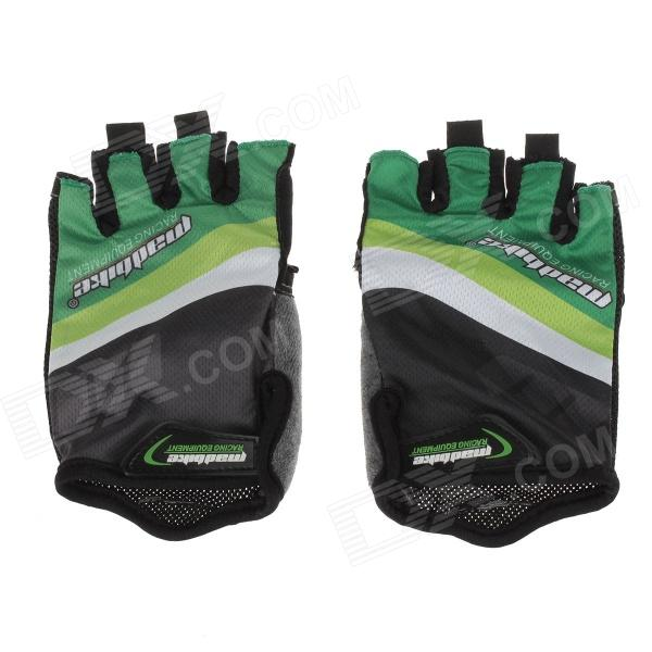 SK-02 Anti-Slip Half-Finger Bicycle Riding Cycling Gloves - Green + Black + White (Size-L)