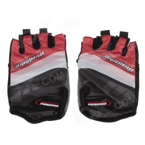 SK-02 Anti-Slip Half-Finger Bicycle Riding Cycling Gloves - Red + Black + White (Size-XL)