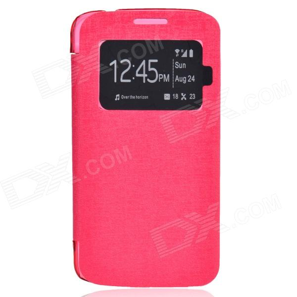 TEMEI PU Leather + Plastic Case w/ Visual Window for Samsung Galaxy Grand 2 G7106 - Deep Pink чехол для сотового телефона takeit для samsung galaxy a3 2017 metal slim silver