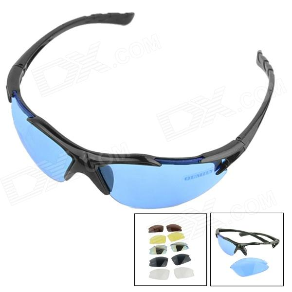 OUMILY Outdoor Cycling Sunglasses Goggles Replaceable lens Kit - Blue + Black topeak outdoor sports cycling photochromic sun glasses bicycle sunglasses mtb nxt lenses glasses eyewear goggles 3 colors