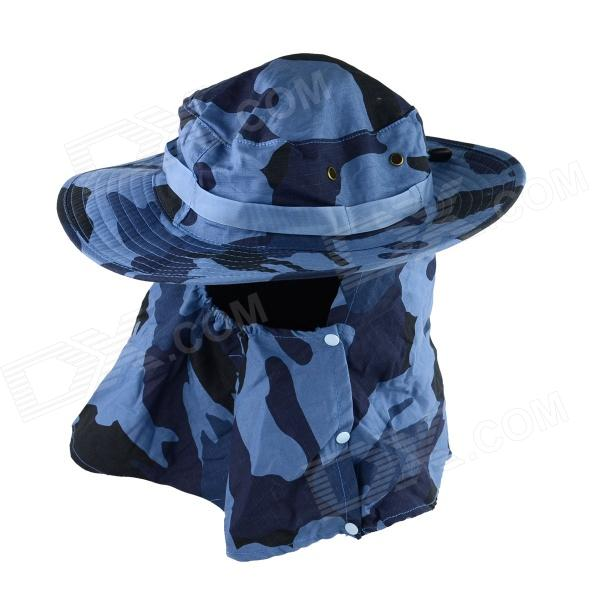 OUMILY Outdoor UV Protection Cotton Large Brimmed Hat w/ Neck Protection / Mask-Desert - Blue summer can be folded anti uv sun hat sun protection for children to cover the sun with a large cap on the beach bike travel