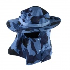 OUMILY Outdoor UV Protection Cotton Large Brimmed Hat w/ Neck Protection / Mask-Desert - Blue